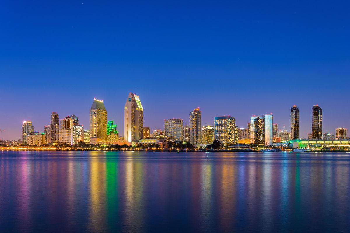 San Diego sparkles at night